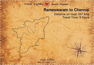 Map from Rameswaram to Chennai