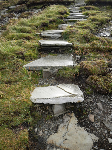 A set of rocky steps lead up a path at Malin Head, the most northerly point in Ireland