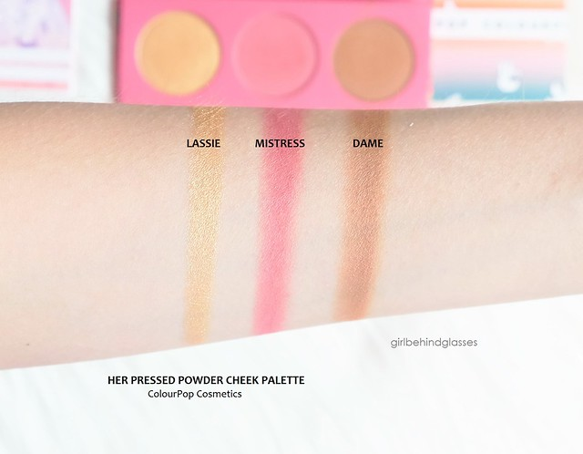 ColourPop Her Pressed Powder Cheek Palette swatches