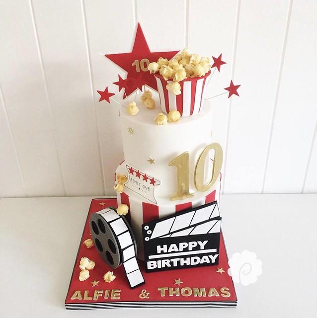 Cinema Popcorn Themed Cake by Poppy Pickering