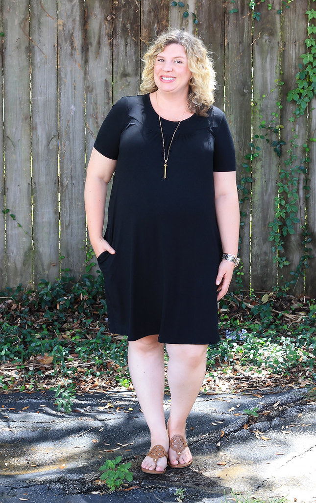 maternity black swing dress and medallion sandals 5