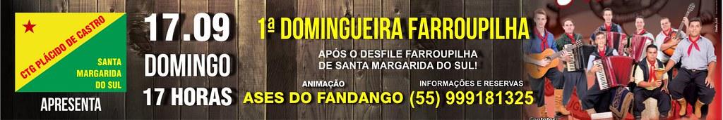 Anúncio Domingueira Farroupilha - CTG Plácido de Castro