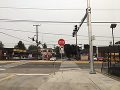 Crosswalk in operation at 92nd. Helping people cross  to school and connecting neighborhoods