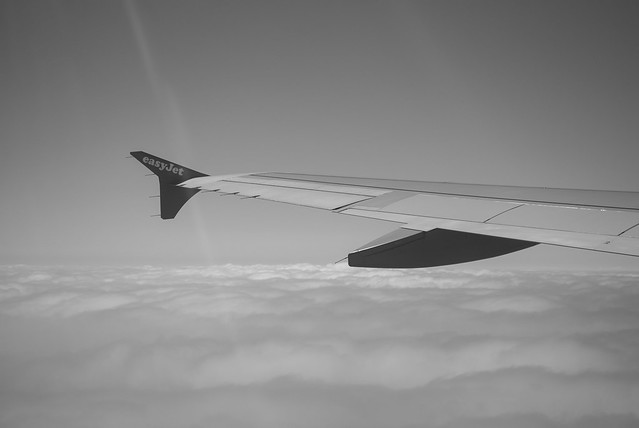 Departure from Gibraltar onboard G-EZUD (B&W)