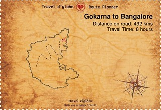 Map from Gokarna to Bangalore