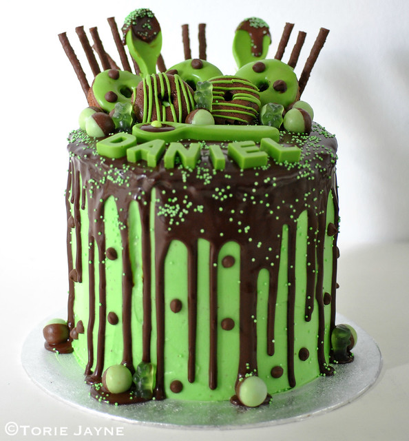 Gluten free Green chocolate drip cake