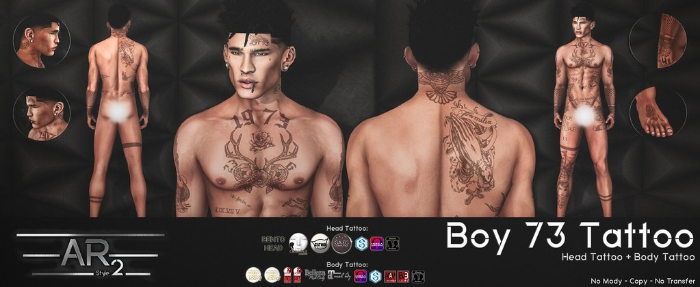 [AR2 Style] BOY 73 Tattoo - SecondLifeHub.com