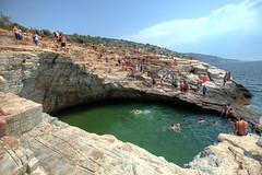Giola poll inside the rocky seaside cliffs, Thasos Island, Greece