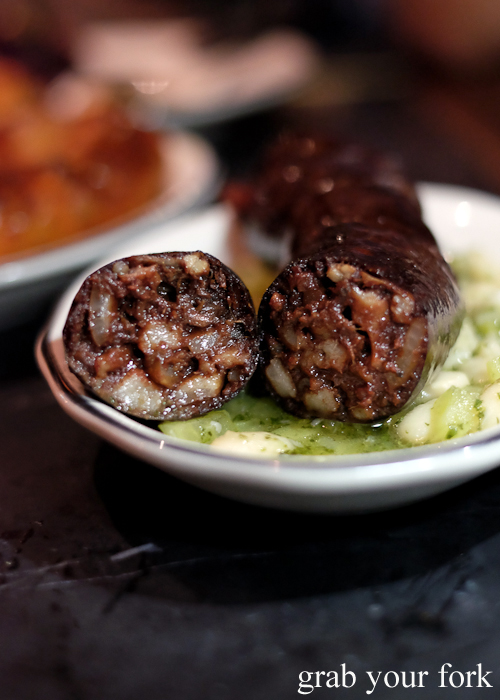 Morcilla blood sausage at Porteno in Surry Hills