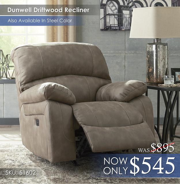 Dunwell Driftwood Recliner 51602-13-OPEN