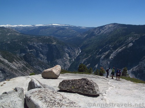 Looking down on Vernal Falls on North Dome in Yosemite National Park, California