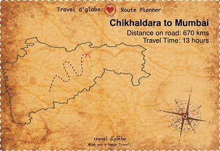 Map from Chikhaldara to Mumbai