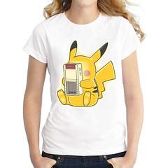 Kawaii Pikachu Charging Women T-shirt 2 Styles