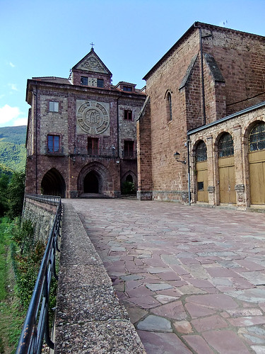 Entrance to the Monasterio de Valvanera in Spain. This Gothic monastery has an impressive location in the mountains and dates back to the 11th century