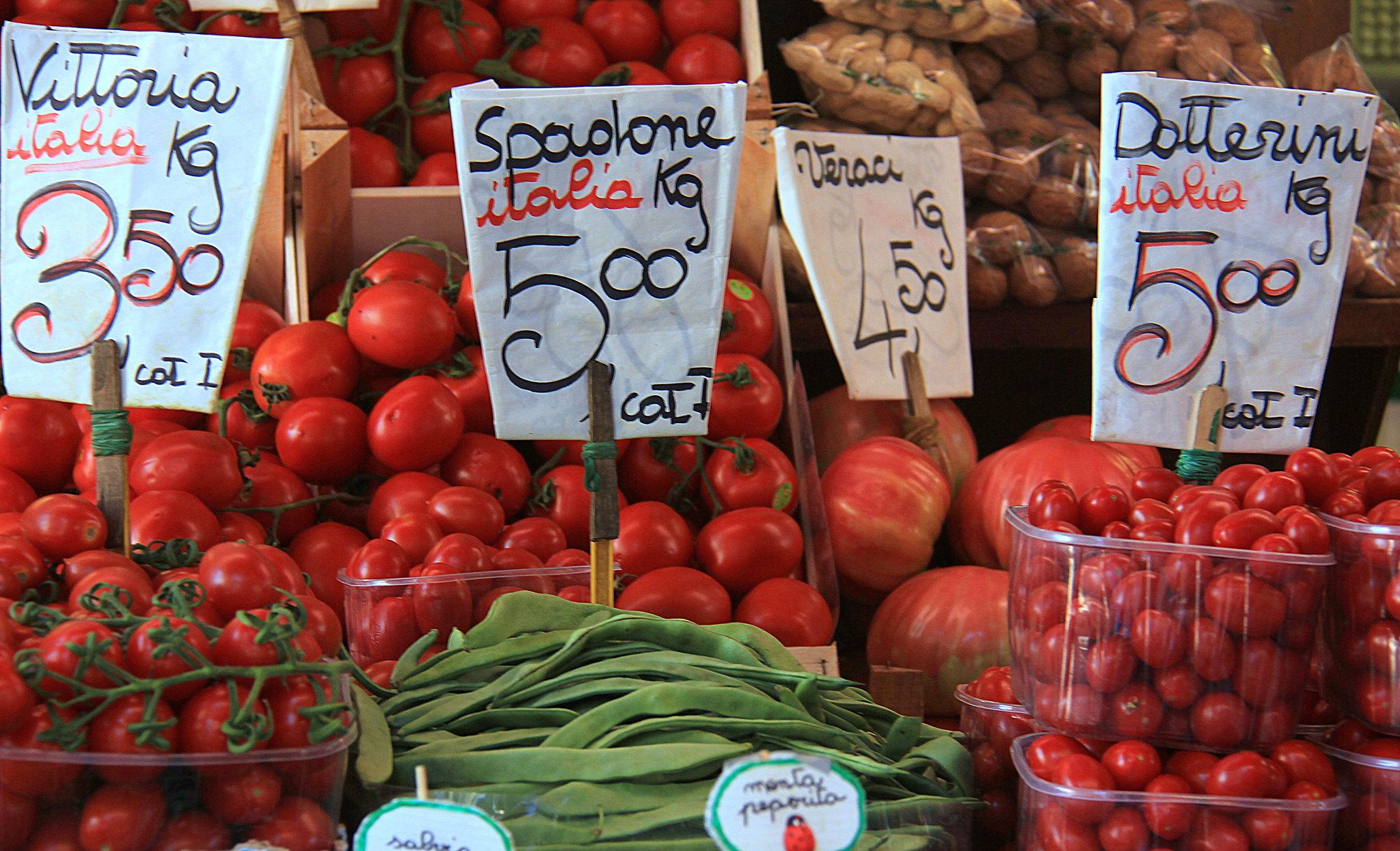 Tomatoes for sale at the Erberia at Rialto Markets in Venice