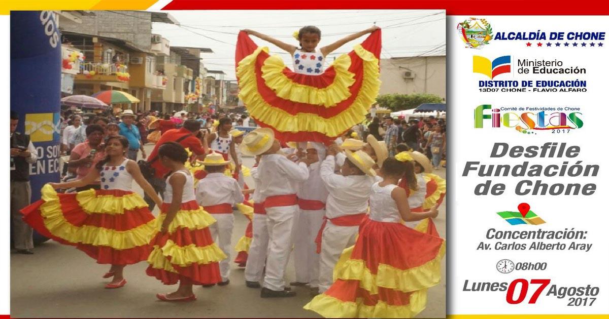 Alcaldía de Chone y distrito de educación programan desfile folclórico