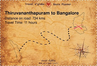 Map from Thiruvananthapuram to Bangalore