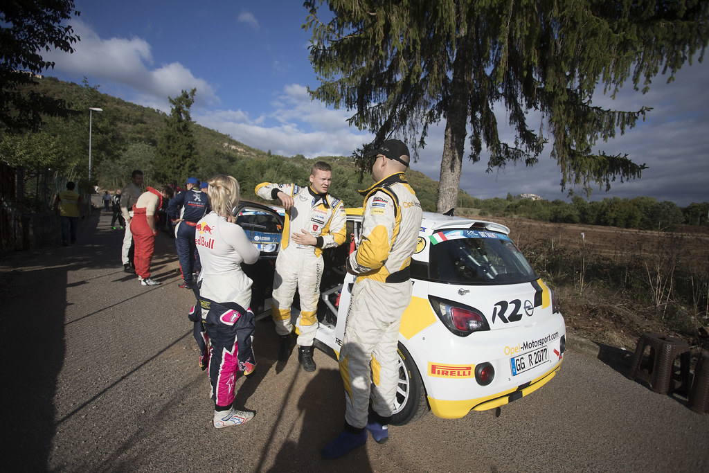 HUTTUNEN Jari (FIN) LINNAKETO Antti (FIN) Opel Adam R2 ambiance Portrait during the 2017 European Rally Championship ERC Rally di Roma Capitale,  from september 15 to 17 , at Fiuggi, Italia - Photo Gregory Lenormand / DPPI