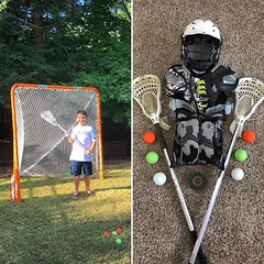 Wes is ready for his new sport, lacrosse. I never played, but as a @uva alum I love to watch @uvamenslacrosse and hope he decides this is the sport he wants to pursue. And maybe one day he'll be wearing the orange & blue too. #lacrosse #lax