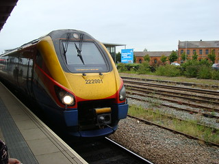 Class 222 'Meridian' unit number 222001 at Derby railway station