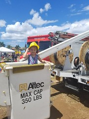 Hawaiian Electric at Touch-A-Truck at Kapolei Commons - August 19, 2017: RaeVyn having fun learning about our bucket trucks