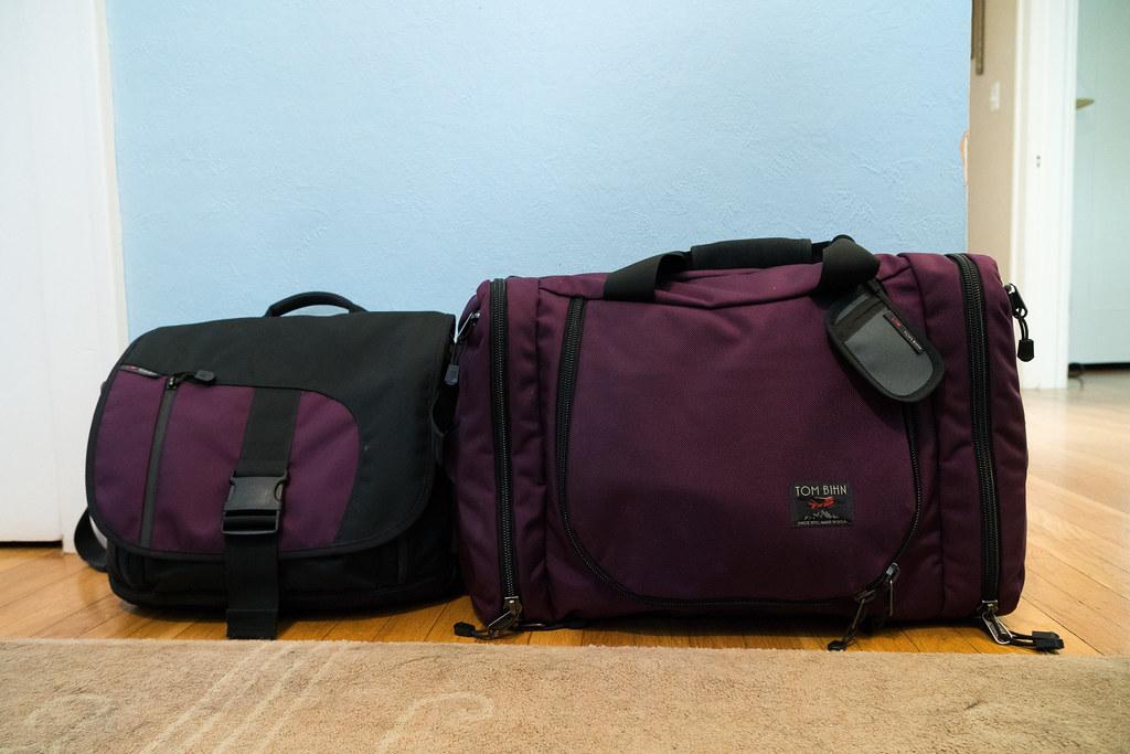 My Tom Bihn ID messenger bag and Tom Bihn Aeronaut 45 travel bag