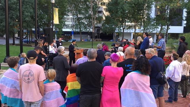 Pride flag raising ceremony in Calgary