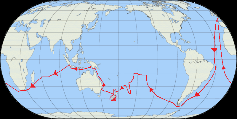 The route of Cook's first voyage