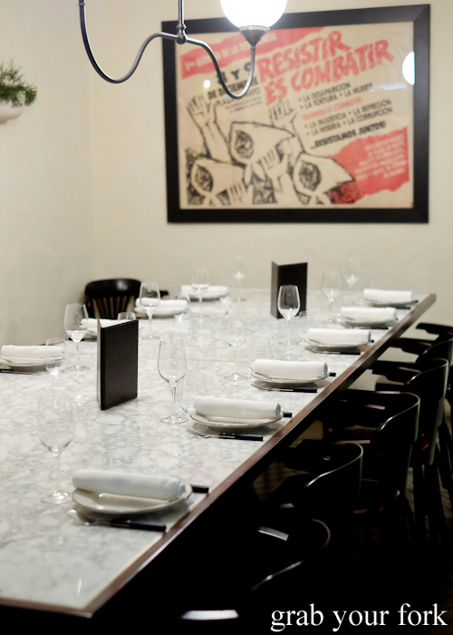 Private dining table at Porteno in Surry Hills