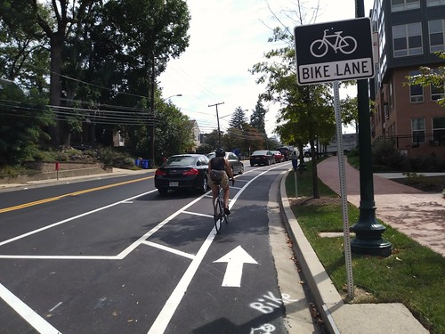 Bicyclist on the cycletrack on Cedar Street, Silver Spring, Maryland