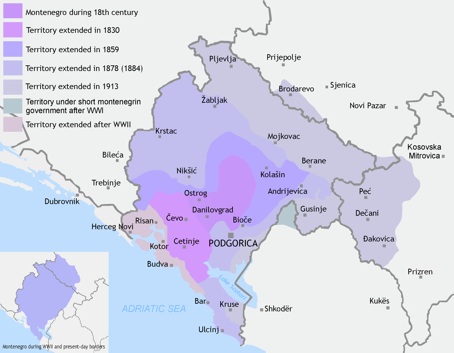 Territorial expansion of the Principality of Montenegro