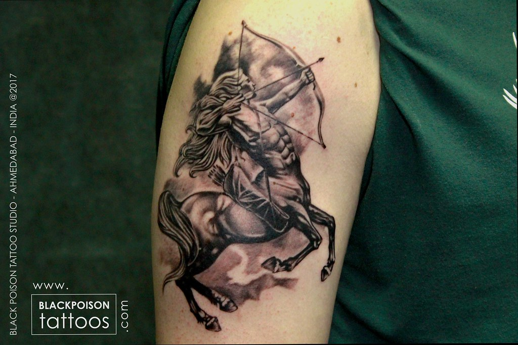 Zodiac Sign Tattoo On Shoulder Sagittarius Tattoos Arrow Tattoos