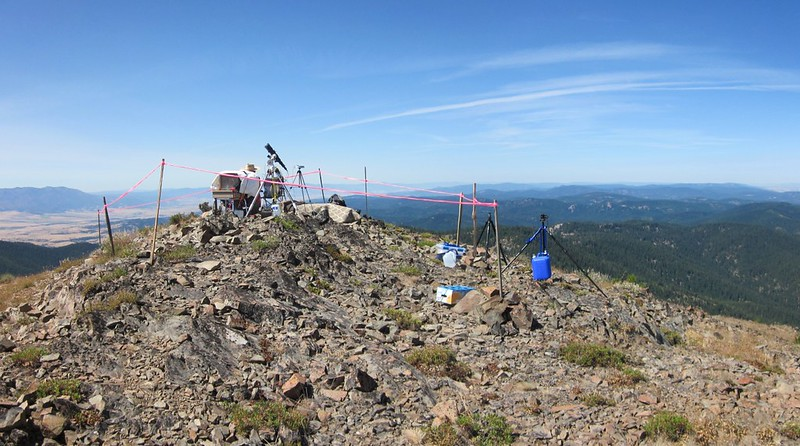Joe Earp and his Solar Telescope setup as part of the Citizen CATE eclipse project on the Dixie Butte summit