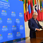 On September 15, Secretary Tillerson hosted the Ninth Community of Democracies (CD) Governing Council Ministerial at the U.S. Department of State in Washington, DC. This ministerial represents the culmination of the two-year U.S. Presidency of the CD and will bring together the CD's 30-member Governing Council, participating states and civil society.  The CD was created by the United States and Poland in 2000 to advance democratic values around the world.  The CD's core mission is to build a global network of governments and civil society to strengthen security, prosperity, and respect for human rights around the world.