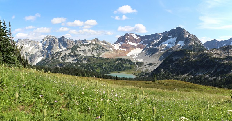 Flower-filled meadows slope down to Lyman Lake from the ridge north of Cloudy Pass