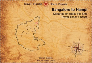 Map from Bangalore to Hampi