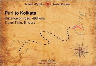 Map from Puri to Kolkata
