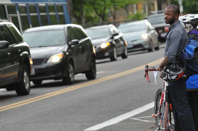 Biker Looking at Powell