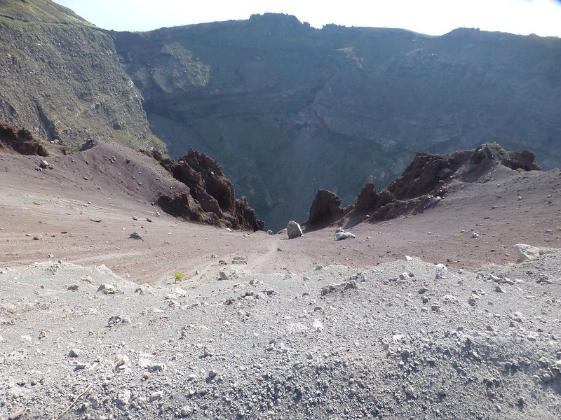 Vesuvius: way down into crater bowl