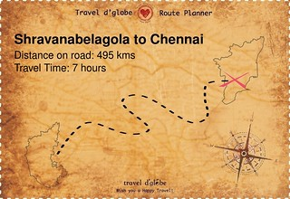 Map from Shravanabelagola to Chennai