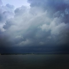 Absolutely, I'd like to go for a swim. BTW, swimming in cycling clothes is a good plan if you don't have a swimsuit. #moisturewicking #spontaneousswim #cyclingadventure #lake #benbrook #storm #stormclouds
