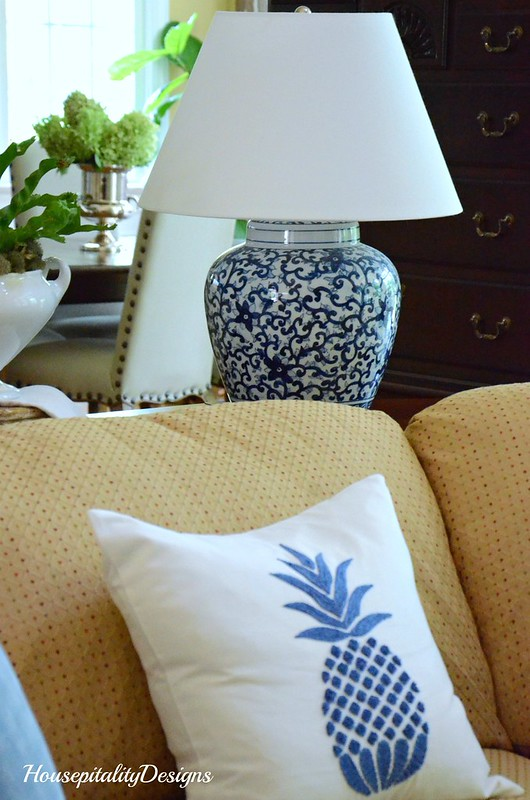 Pottery Barn-Blue Pineapple Pillow-Housepitality Designs