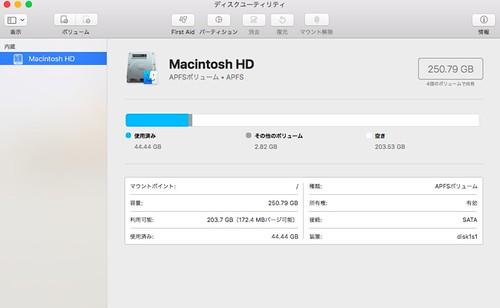 Macintosh HD APFSボリューム