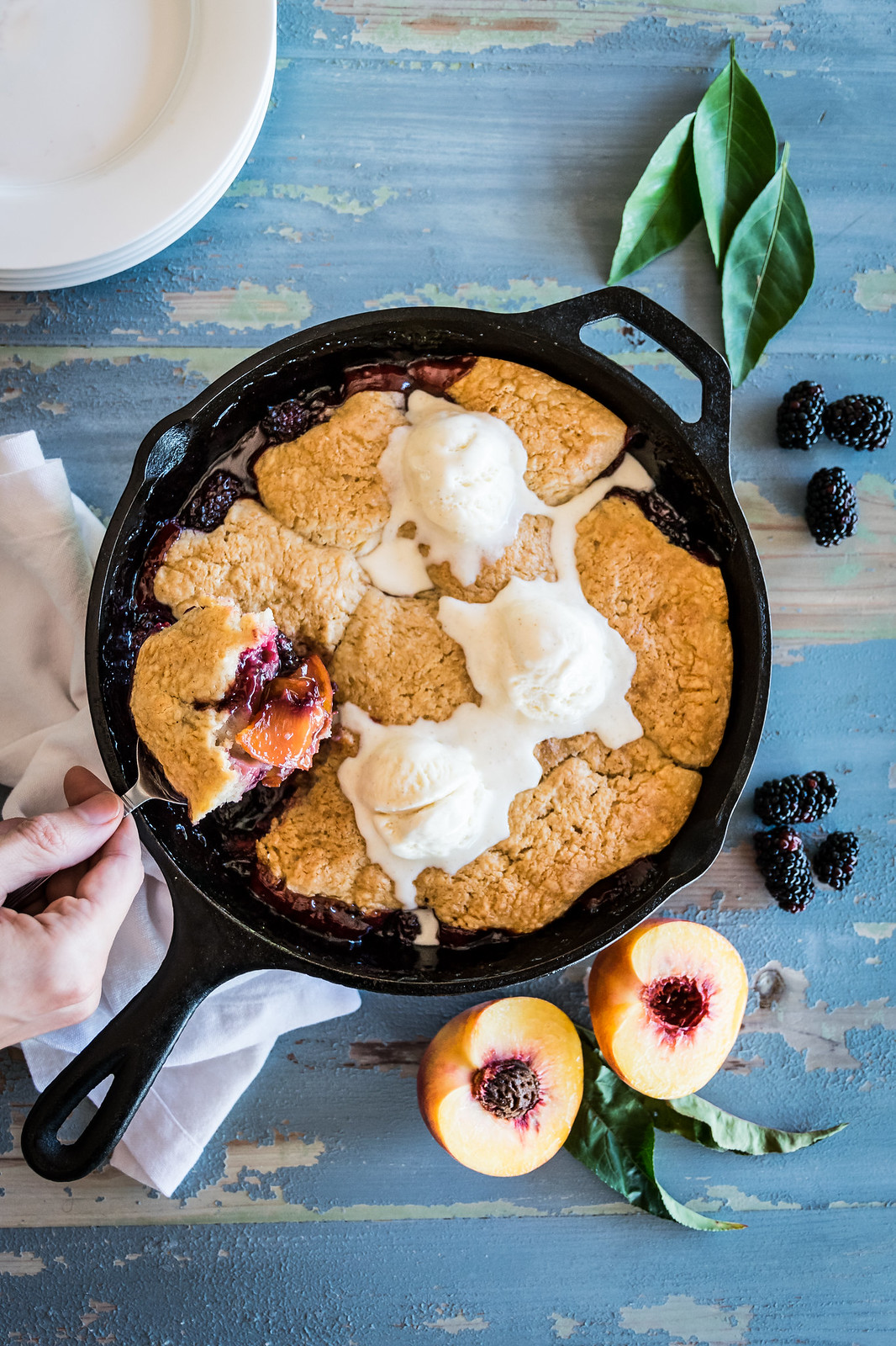 blackberry peach cobbler with ginger-spice biscuits