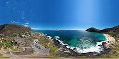 A 360° Equirectangular Aerial VR view as seen from 200 feet above Makapu'u Beach in East O'ahu, Hawai'i