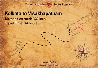 Map from Kolkata to Visakhapatnam