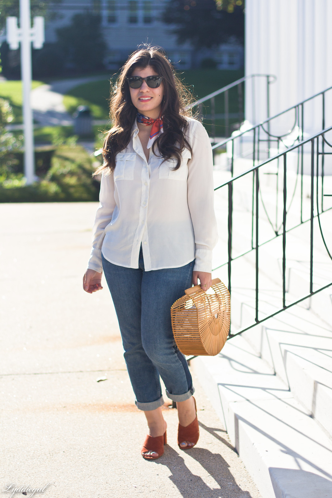 white silk blouse, MIH Tomboy Jeans, mules, bamboo bag, neck scarf