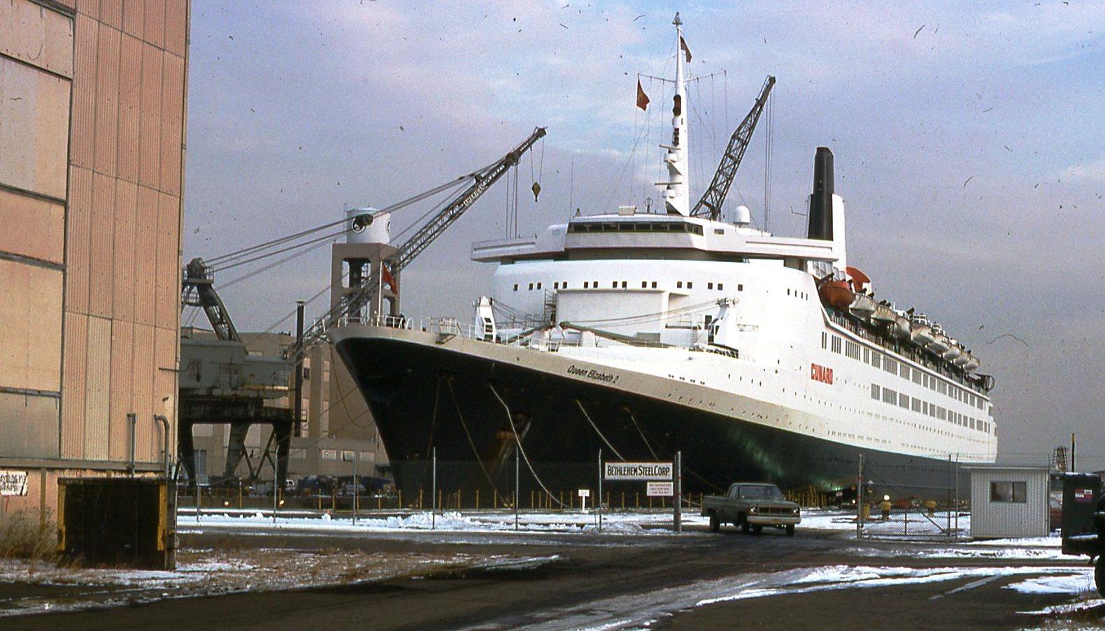 QE2 at Bethlehem Shipyards, circa 1974.