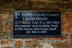 Photo of Limnerslease and George Frederic Watts black plaque