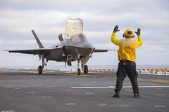 In this file photo, a U.S. Marine Corps F-35B Lightning II Joint Strike Fighter prepares to take off from USS Essex (LHD 2) in August. (U.S. Navy/MC2 Irwin Sampaga)